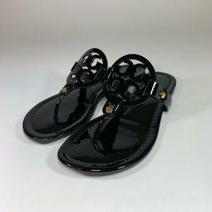 Tory Burch Miller Sandal Flip Flop Black Patent
